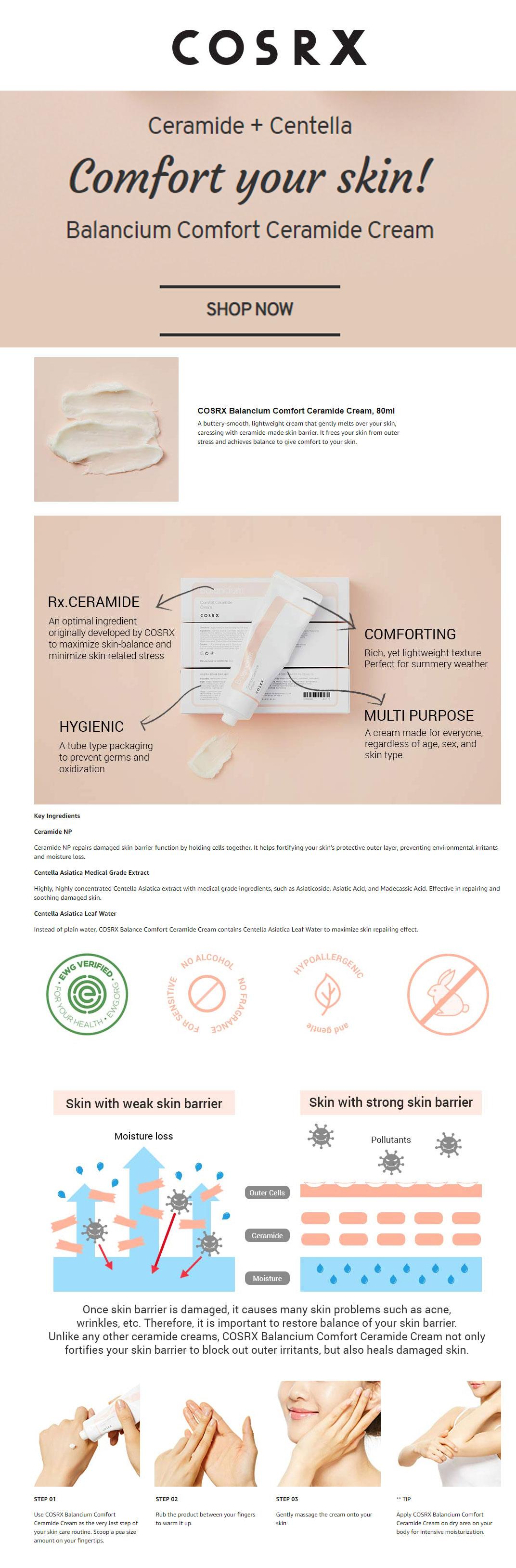 COSRX Balancium Comfort Ceramide Cream, 80ml India